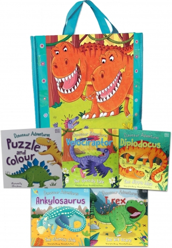 Dinosaur Adventures Collection 5 Books Set in a Bag (Ankylosaurus, Dora the Diplodocus, Rex the T rex and Vicky the Velociraptor,) by Fran Bromage