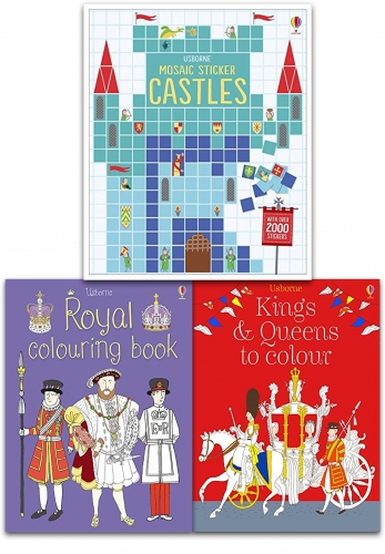 Usborne Childrens Colouring and Sticker Activity 3 Books Collection Set King, Queen, Castle - Royal Theme by Usborne