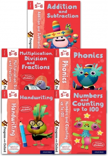 Progress with Oxford Series 5 Books Collection Set (Age 5-6) (Numbers and Counting, Phonics, Numbers and Counting, Multiplication, Division) by Nicola Palin