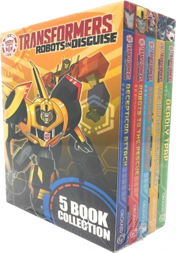 Transformers Robots In Disguise Collection 5 Books Box Set Battle Of Optimus Prime, Deadly Trap, Samurai Showdown, Robots To The Rescue, Decepticon by John Barber