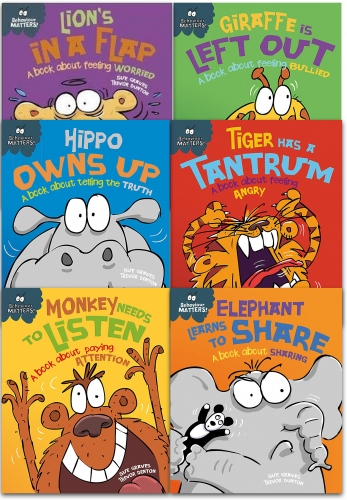 Sue Graves Behaviour Matters Series 6 Books Collection Set Hippo Owns Up, Lions in a Flap, Monkey Needs to Listen, Elephant Learns to Share, Tiger by Sue Graves