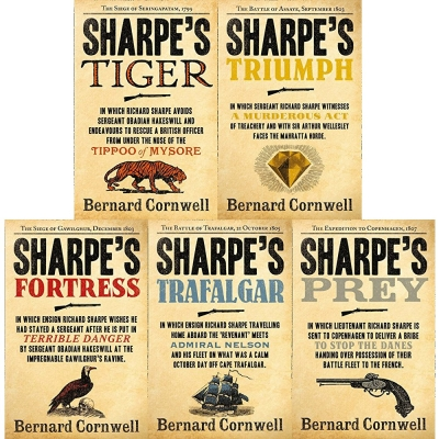 Bernard Cornwell's Richard Sharpe's Series 1 to 5 (5 Books Set) (Prey, Trafalgar, Fortress, Triumph, Tiger) by Bernard Cornwell