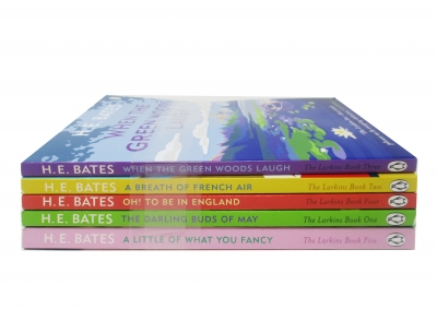 H E Bates Collection The Larkins Family Set of 5 Books When The Green Woods Laugh, A Breath of French Air, Oh To Be In England by H.E. Bates
