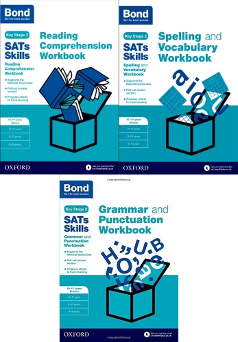 Bond SATs Skills - Reading, Spelling and Grammar Workbook 10-11 Years Stretch 3 Books Set by Michellejoy Hughes and Christine Jenkins