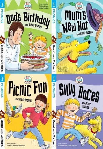 Read With Oxford Phonics Stage 1 Biff, Chip and Kipper 4 Books Collection Set by Roderick Hunt and Alex Brychta
