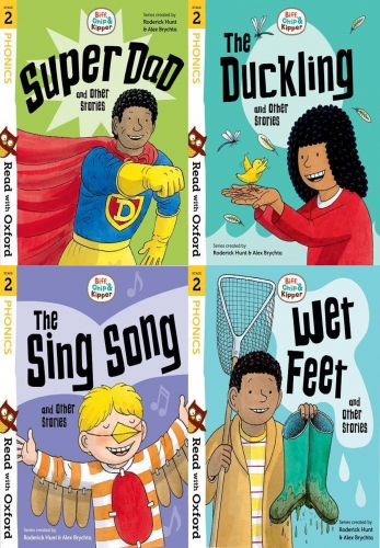 Read With Oxford Phonics Stage 2 Biff, Chip and Kipper 4 Books Collection Set by Roderick Hunt and Alex Brychta