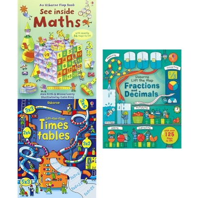 Usborne Lift The Flap See Inside Collection 3 Books Set - Times Tables, Maths, Fractions and Decimals by Rosie Dickins, Benedetta Giaufret, Enrica Rusina, Alex Frith and Minna Lacey