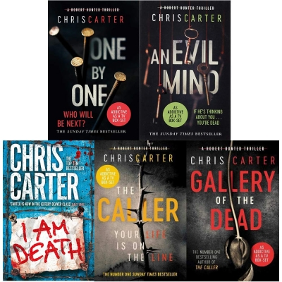 Robert Hunter Thriller 5 Books Collection Set An Evil Mind, One By One, Gallery Of The Dead, I am Death, The Caller by Chris Carter