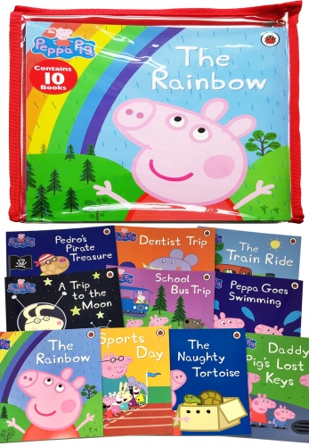 Peppa Pig 10 Books Zip Bag Collection Set (The Rainbow, Dentist Trip, Sports Day, The Train Ride, Peppa Goes Swimming, School Bus Trip...) by Neville Astley and Mark Baker