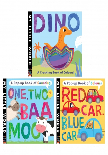 My Little World Series 3 Board Book Collection Set Dino Red Car Blue Car One Two Baa Moo by Jonathon Litton