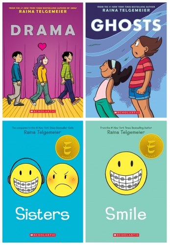 Raina Telgemeier 4 Books Collection Set Sisters Drama Smile Ghosts by Raina Telgemeier
