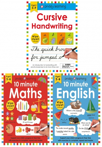 Wipe Clean Workbooks 3 Books Collection Set - 10 Minute English, 10 Minute Maths, Cursive Handwriting by Roger Priddy