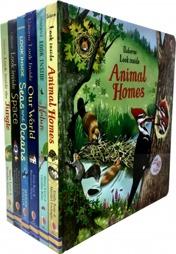 Usborne Look Inside Collection 6 Books Set - Space, Animal Homes, Our World, Seas and Oceans, Jungle, Nature by Usborne