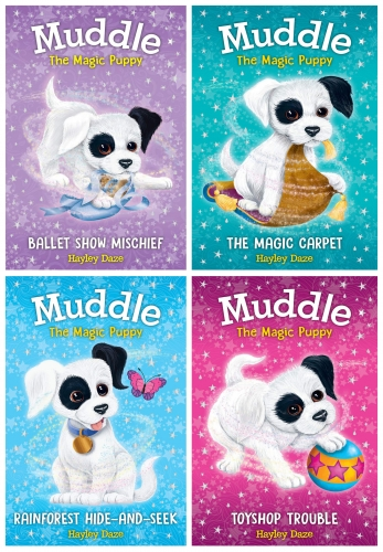 Hayley Daze Muddle The Magic Puppy 4 Books Collection Set (The Magic Carpet, Toyshop Trouble, Ballet Show Mischief, Rainforest Hide and Seek) by Hayley Daze