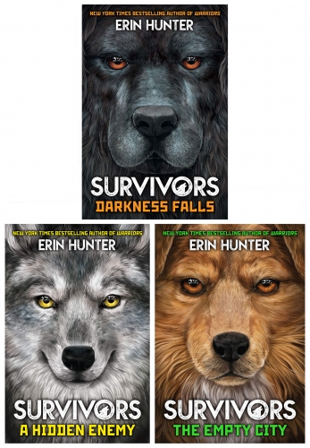 Erin Hunter Survivors Series 3 Books Collection Set (Darkness Falls, A Hidden Enemy, The Empty City) by Erin Hunter