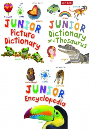 Miles Kelly Junior Series 3 Books Collection Set Encyclopedia Picture Dictionary Dictionary and Thesaurus by Miles Kelly