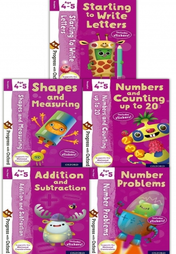 Progress with Oxford Series 5 Books Collection Set Age 4-5 Addition and Subtraction, Numbers and Counting, Starting to Write Letters by Giles Clare