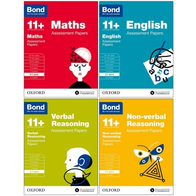 Bond 11+ plus Assessment Papers English Maths Verbal Reasoning, Non-Verbal Reasoning 6-7 Year Pack of 4 by Bond