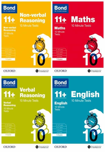 Bond 11+ English, Maths, Non-verbal Reasoning, Verbal Reasoning 10 Minute Tests 4 Books Set Age 7-8 by Bond