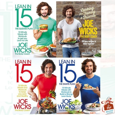 Joe Wicks Lean In 15 Collection 4 Books Set Shift Plan, Sustain Plan, Shape Plan, Cooking For Family And Friends by Joe Wicks