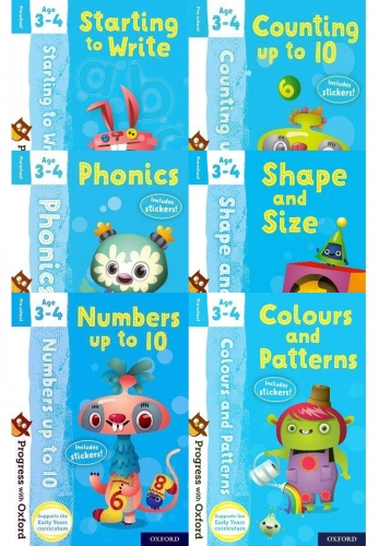 Preschool Progress with Oxford 6 Books Collection Set - Age 3-4 - Counting, Numbers, Shape, Starting to Write, Colours and Patterns, Phonics by Nicola Palin