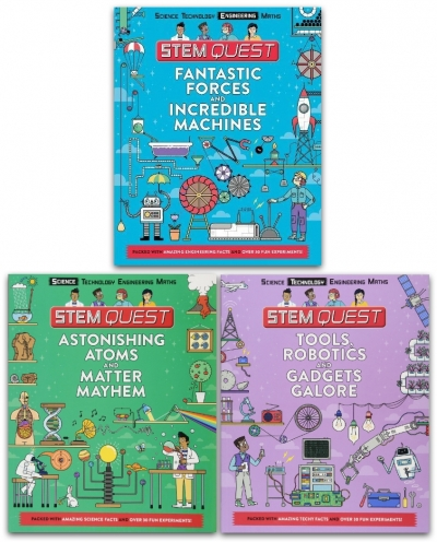 Stem Quest 3 Books Collection Set (Astonishing Atoms and Matter Mayhem, Coding Robotics and Gadgets Galore, Fantastic Forces and Incredible Machines) by Colin Stuart and Nick Arnold