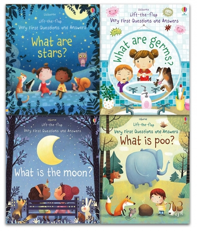 Usborne Lift The Flap Very First Questions and Answers 4 Books Collection Set What is the Moon What are Stars What are Germs What is Poo by Katie Daynes, Marta Alvarez Miguens