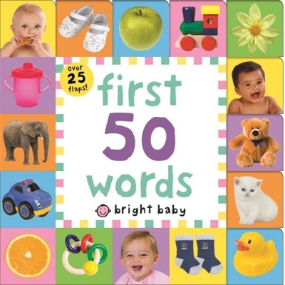 First 50 Words Bright Baby Lift-the-Flap Tab Books by Roger Priddy