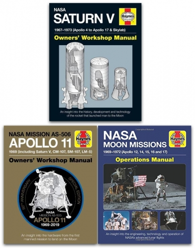 Haynes NASA Manual 3 Books Collection Set (NASA Mission AS-506 (Apollo 11), NASA Moon Missions (1969-1972), NASA Saturn V (1967-1973) by Christopher Riley, David Baker, David Woods