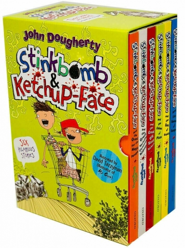 Stinkbomb and Ketchup Face 6 Books Collection Box Set By John Dougherty Badness of Badgers, Quest for the Magic Porcupine, Evilness of Pizza by John Dougherty