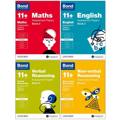 Bond 11+ Maths, English, Non-verbal Reasoning, Verbal Reasoning Assessment Papers 4 Books Set Book 2 Age 9-10 by Bond