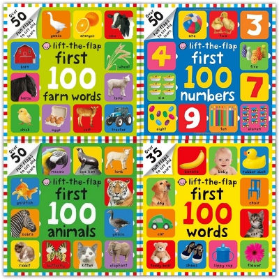 Lift the Flap 4 Children Board Books Collection Set First 100 Farm Words, First 100 Numbers, First 100 Animals, First 100 Words by Roger Priddy