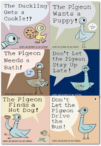 Pigeon Series 6 Books Collection Set Dont Let The Pigeon Stay Up Late, Pigeon Needs A Bath, The Pigeon Finds a Hot Dog, The Pigeon Drive the Bus by Mo Willems