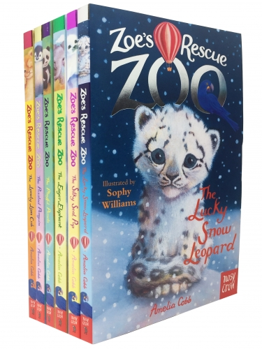 Zoes Rescue Zoo 6 Books Collection Set - Lucky Snow Leopard, Eager Elephant, Silky Seal Pup, Puzzled Penguin, Playful Panda, Lonely Lion Cub by Amelia Cobb