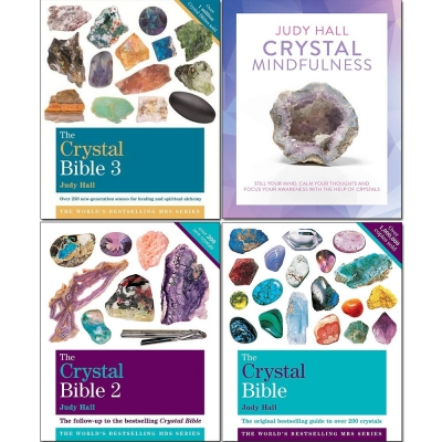 The Crystal Bible Volume 1-3 Books and Crystal Mindfulness 4 Books Collection Set by Judy Hall by Judy Hall