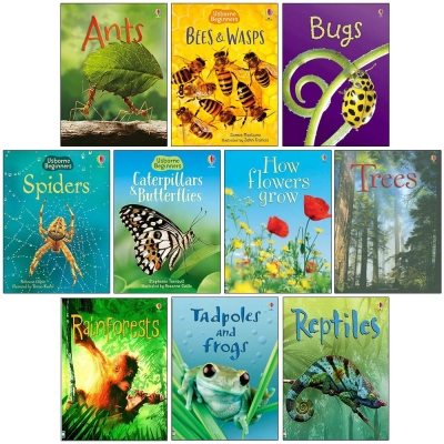 Usborne Beginners Nature 10 Books Set - Ants, Bugs, Spiders, Tree, Reptiles, Rainforests and MORE by Various