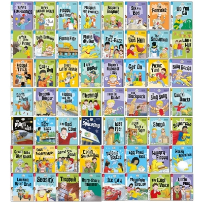 Biff, Chip and Kipper Read with Oxford Phonics Stage 1,2,3 Collection 56 Books Set - Stage 1 First Step, Stage 2 Early Reader, Stage 3 Growing Reader by Oxford Reading Tree