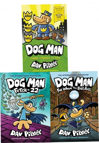 Dog Man 3 Books Collection Set 7, 8 & World Book Day 2020 By Dav Pilkey (Dog Man: For Whom the Ball Rolls, Fetch-22) by Dav Pilkey