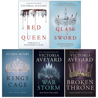Victoria Aveyard Red Queen Series 5 Books Collection Set (Red Queen, Glass Sword, Kings Cage, War Storm, Broken Throne) by Victoria Aveyard