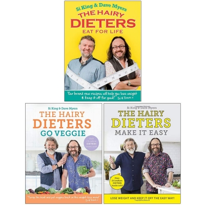 Hairy Dieters Collection 3 Books Set By Hairy Bikers (Eat for Life, Go Veggie, Make It Easy) by Hairy Bikers
