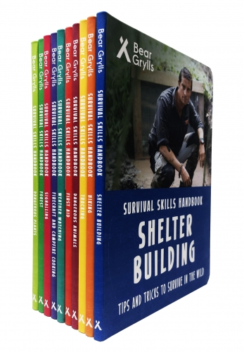 Bear Grylls Survival Skills Handbook Collection 10 Books Set - Hiking, Tracking, Forest, First Aid, Signalling, Shelter Building and More by Bear Grylls