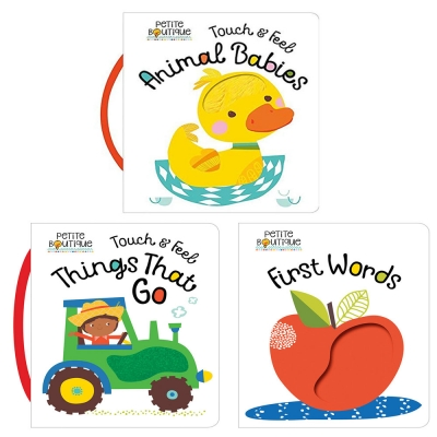 Petite Boutique Touch and Feel Things That Go, Animal Babies, First Words 3 Books Collection Set by Petite Boutique