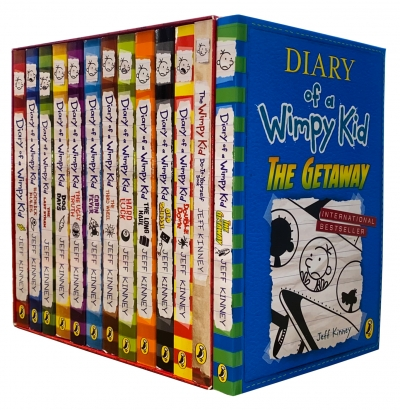 Diary of a Wimpy Kid Collection 13 Books Set by Jeff Kinney The Getaway, Double Down by Jeff Kinney