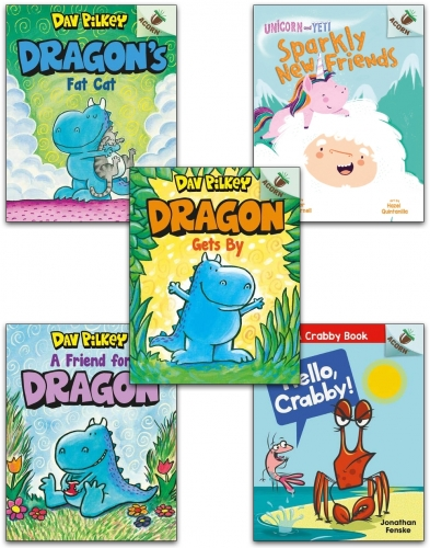 Dav Pilkey Collection 5 Books Set (A Friend for Dragon, Dragon Gets By, Dragon's Fat Cat, Unicorn and Yeti Sparkly New Friends, Hello Crabby!) by Dav Pilkey