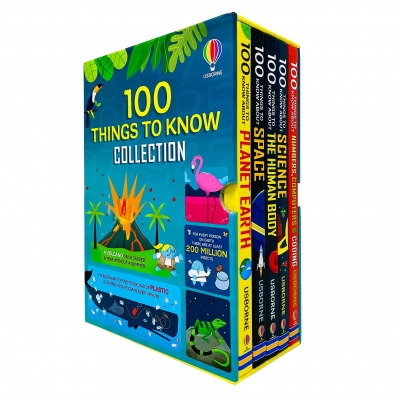 Usborne 100 Things To Know Collection 5 Books Box Set (Planet Earth, Space, Human Body, Science & Numbers, Computers, Coding) by Various