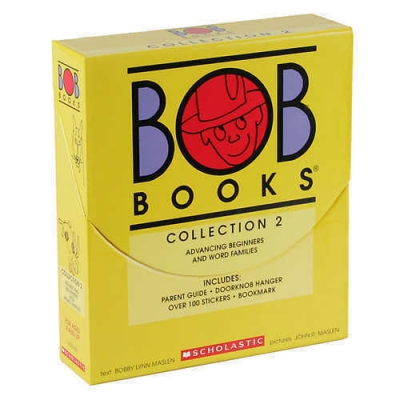 Bob Books 16 Books Collection Box 2 for Advancing Beginners and Word Families INCLUDING Parent Guide, Doorknob Hangerover 100 Stickers & Bookmark by Bobby Lynn Maslan