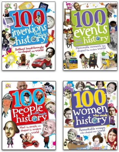 100 History Series 4 Books Collection Set (100 People Who Made History, 100 Events, 100 Inventions, 100 Women) by DK