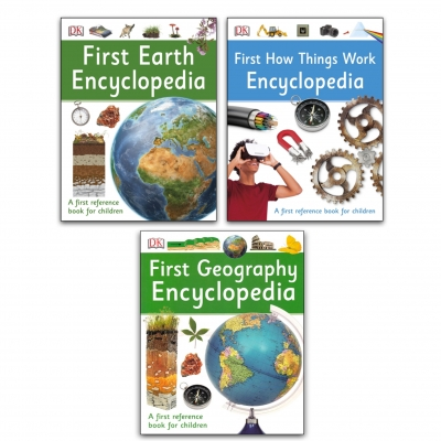 First Encyclopedia 3 Books Collection Set (First How Things Work, First Earth, First Geography) by DK