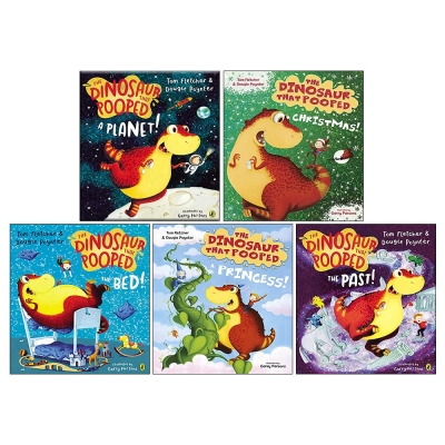 The Dinosaurs That Pooped Collection 5 Books Set (The Dinosaur That Pooped The Past, Christmas, A Planet, The Bed, A Princess) by Tom Fletcher & Dougie Poynter