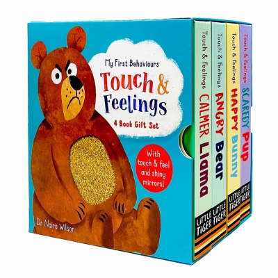 My First Behaviours Touch & Feelings 4 Book Gift Box Set by Dr Naira Wilson (Calmer Llama, Angry Bear, Happy Bunny & Scaredy Pup) by Dr Naira Wilson